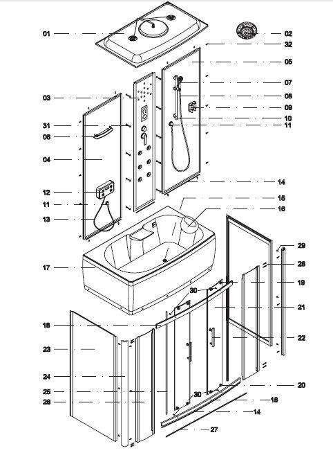 инструкция по сбору душевой кабины - фото 11