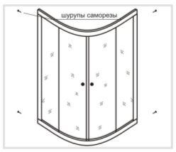 Сборка каркаса стеклянных панелей душевой кабины Timo