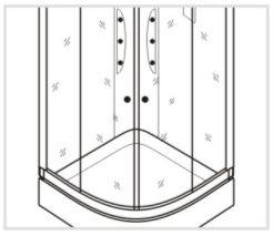 Установка каркаса стеклянных панелей душевой кабины Timo